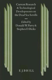 Cover of: Current research and technological developments on the Dead Sea scrolls