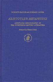 Cover of: Aristotle's Metaphysics