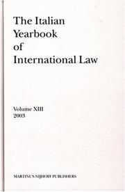 Cover of: The Italian Yearbook of International Law 2003 (Italian Yearbook of International Law)