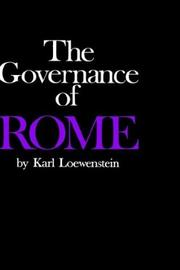 Cover of: The governance of Rome