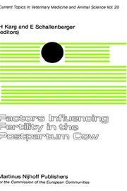 Cover of: Factors influencing fertility in the postpartum cow |