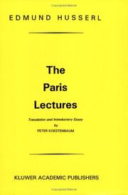 Cover of: The Paris lectures