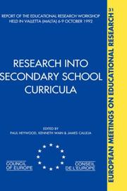 Cover of: RESEARCH INTO SECONDARY SCHOOL CURRICULA (European Meetings on, V. 31) | Heywood