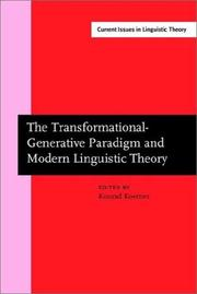 Cover of: Transformational-Generative Paradigm and Modern Linguistic Theory (Current Issues in Linguistic Theory Ser. 1) | E. Konrad Koerner