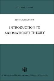 Cover of: Introduction to axiomatic set theory. | J. L. Krivine