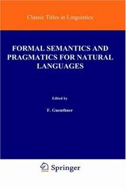 Cover of: Formal Semantics and Pragmatics for Natural Languages (Studies in Linguistics and Philosophy) |