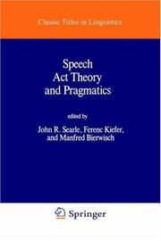 Cover of: Speech Acts Theory and Pragmatics (Synthese Language Library) |
