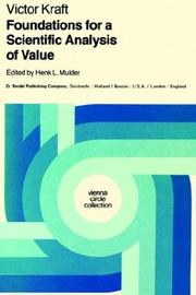 Cover of: Foundations for a scientific analysis of value