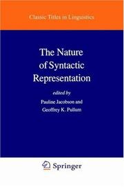 Cover of: The Nature of syntactic representation