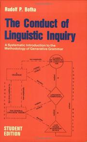 Cover of: The conduct of linguistic inquiry