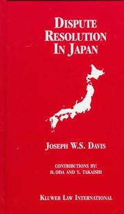 Cover of: Dispute resolution in Japan
