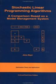 Cover of: Stochastic Linear Programming Algorithms | Janos Mayer
