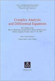 Cover of: Complex analysis and differential equations