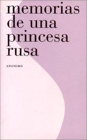 Cover of: Memorias de Una Princesa Rusa by Anonimo