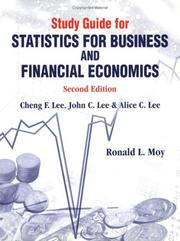 Cover of: Study Guide for Statistics for Business & Financial Economics | Ronald L. Moy