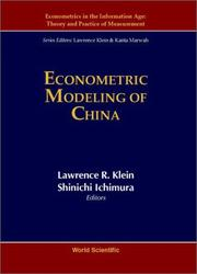 Cover of: Econometric modeling of China