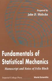 Cover of: Fundamentals of statistical mechanics