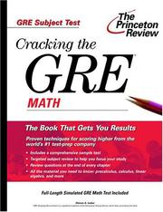 Cover of: Cracking the GRE Math