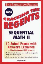 Cover of: Cracking the Regents Sequential Math II, 2000 Edition