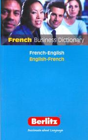 Cover of: Berlitz French Business Dictionary (Berlitz Dictionaries)