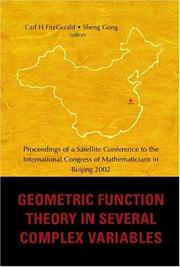 Cover of: Geometric Function Theory In Several Complex Variables