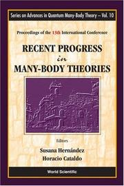 Cover of: Recent Progress in Many-body Theories |