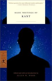 Cover of: Basic Writings of Kant (Modern Library Classics) | Immanuel Kant
