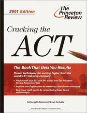 Cover of: Cracking the ACT, 2001 Edition (Cracking the Act) | Geoff Martz