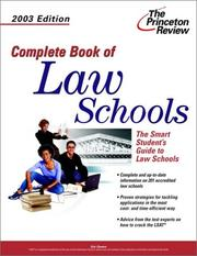 Cover of: Complete Book of Law Schools, 2003 Edition (Graduate School Admissions Gui)