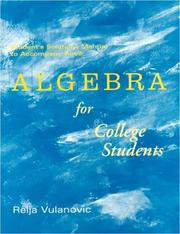 Cover of: Student Solutions Manual to accompany Algebra for College Students
