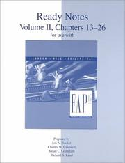 Cover of: Ready Notes Volume II, Chapters 13-26 for use with Fundamental Accounting Principles