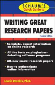 Cover of: Schaum's Quick Guide to Writing Great Research Papers (Schaums Quick Guide)