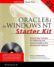 Cover of: Oracle8i For Windows Nt Starter Kit