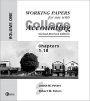 Cover of: Working Papers for Peters | Judith M. Peters