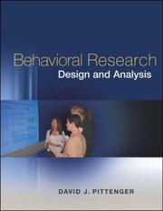Cover of: Behavioral Research Design and Analysis with CD-ROM and PowerWeb | David Pittenger