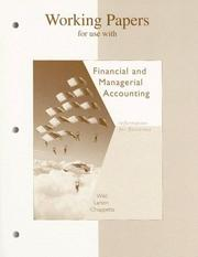 Cover of: Working Papers for use with Financial and Managerial Accounting