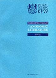 Cover of: The Kew Record of Taxonomic Literature Relating to Vascular Plants