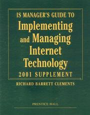 Cover of: IS Manager's Guide to Implementing and Managing Internet Technology, 2001 Supplement