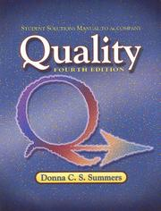 Cover of: Student Solutions Manual to Accompany Quality