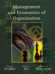 Cover of: Management and Economics of Organization | Zoltan J. Acs
