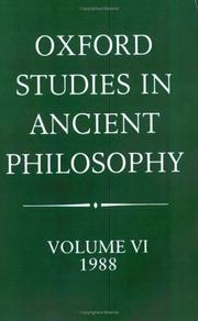 Cover of: Oxford Studies in Ancient Philosophy: Volume VI