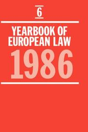 Cover of: Yearbook of European Law: Volume 6 | F. G. Jacobs