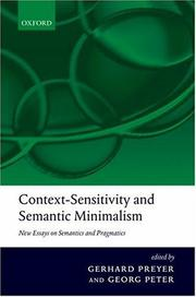 Cover of: Context-sensitivity and semantic minimalism