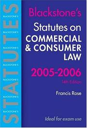 Cover of: Statutes on Commercial and Consumer Law 2005-2006 (Blackstone