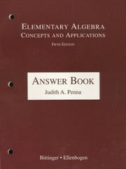 Cover of: Elementary Algebra: Concepts and Applications  | Judith A. Penna