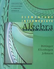 Cover of: Elementary and Intermediate Algebra: Concepts and Applications: A Combined Approach