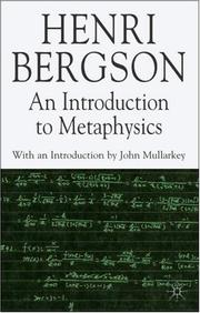Cover of: An Introduction to Metaphysics (Henri Bergson Centennial)
