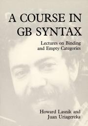 Cover of: A course in GB syntax