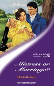Cover of: Mistress or Marriage?