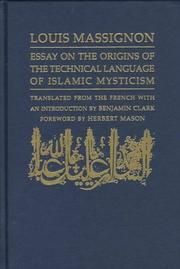 Cover of: Essay on the origins of the technical language of Islamic mysticism